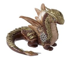 Polymer Clay Steampunk Dragon by Designer Caitlin Donahue Fire Mountain Gems and Beads' Contest 2016 featuring Creative Clays - Finalist  #beadingcontest #polymerclay #steampunk #dragons #jewelrymaking