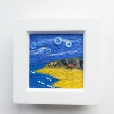 Coastal Path - Small Square needle-felt picture embellished with buttons and beads in white box frame by ThePaintingTree on Etsy