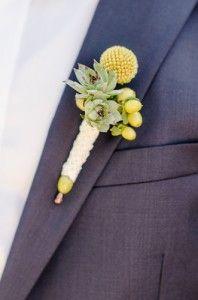 Yellow Craspedia buttonhole (alternative to gerbera)