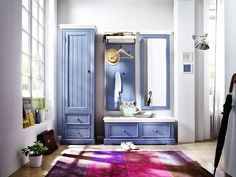Garderobenkombination LaMer III 4tlg. Brilliantblau Passend zum Möbelprogramm LaMer Kombination bestehend aus: 1 x Garderobenschrank links mit 1 Tür 2 Schubkästen und 1...