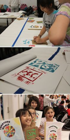 Children's Museum of the Arts and NYU Langone Medical Center's Rusk Institute of Rehabilitation Medicine brought kids together to collaborate. And at the end of their time together they made their very own stamp-yearbooks.