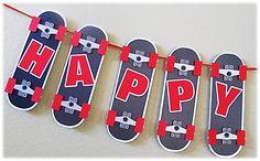 Happy Birthday Boy Banner Skateboard Theme