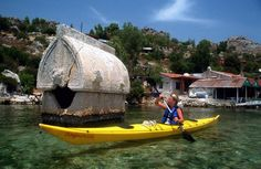 Sea Kayaking in Kekova, an archeological site in the south of Turkey. Part of the ruines are under the sea!