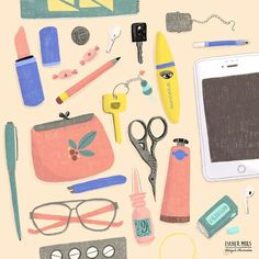 Pack your bags for a new week.  #whatsinyourbag #illustratie