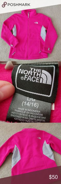 North Face fleece zip up Size large 14-16 big girls. Can fit a womens xs. Stain on inside shown in last pic and I wrote my name on the name tag inside. The North Face Jackets & Coats