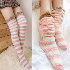 2016 fashion sweet students cartoon coral velvet stockings