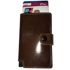 2a6b6a15ebf5 Tuopuke III Genuine leather wallet ebrown with button Slim Wallet