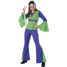 If you combine hippie aesthetic with the color preferences of Daphne from Scooby Doo you'd have this costume. The psychedelic bell bottoms coalesce with a loud, green-and-purple top that is oh so groo