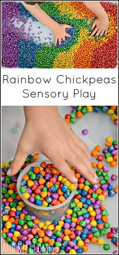 Rainbow chickpeas: how to dye dried chickpeas (garbanzo beans) for sensory play for kids from And Next Comes L How to dye dried chickpeas (or garbanzo beans) for sensory play. A beautiful sensory bin filler for toddlers and preschool children. Sensory Tubs, Sensory Boxes, Baby Sensory, Toddler Sensory Bins, Toddler Games, Sensory Diet, Sensory Play For Babies, Sensory Play Autism, Diy Sensory Toys