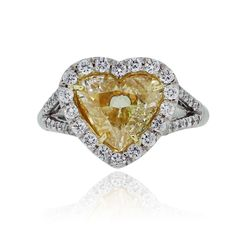 Platinum 2.01ct Fancy Yellow Heart Shaped Diamond Engagement Ring Find this Platinum GIA Certified 1.20ct Natural Fancy Blue/Green Cushion Cut Diamond Engagement Ring at Raymond Lee Jewelers in Boc…
