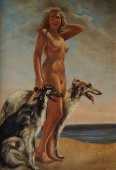 Young female nude with 2 borzoi dogs - 30´s   -  european painter - Corbeau?