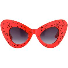 Jeremy Scott Cat Eye Sunglasses (€93) ❤ liked on Polyvore featuring accessories, eyewear, sunglasses, glasses, red, jeremy scott sunglasses, oversized sunglasses, oversized cat eye sunglasses, print sunglasses and red cateye glasses