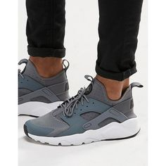 Nike Air Huarache Run Ultra Sneakers 819685-011 ($135) ❤ liked on Polyvore featuring men's fashion, men's shoes, men's sneakers, grey, mens monk strap shoes, mens running sneakers, mens running shoes, nike mens shoes and mens grey sneakers