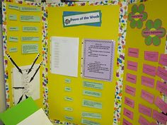 Poetry station.. Has a poem of the week along with lots of poetry definitions on the sides.  Students must find examples of these elements in the poem and then as an extension they can write their own poem or choose another poem to read.   It can also be used as a word work station for practice with parts of speech, nouns, verbs, rhymes, etc.