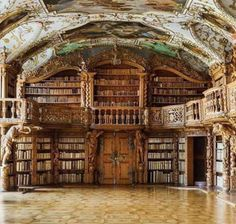 Library of the Abbey in Waldsassen, Bavaria, Germany.