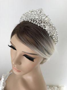 Wedding Crown Bridal Crown Full Crown Wedding Tiara Swarovski | Etsy Bridal Crown, Bridal Tiara, Beach Wedding Sandals, Silver Tiara, Diamond Crown, Swarovski Stones, Crystal Crown, Tiaras And Crowns, Wedding Hair Accessories