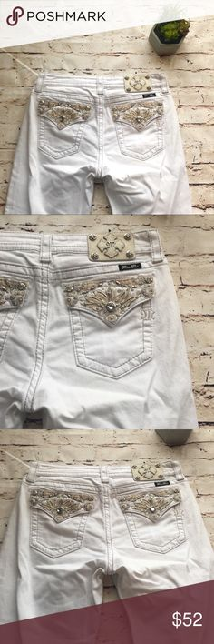Miss Me | white denim Capri White miss me 'boyfriend capri' with cuffed bottom. One excellent condition! Feel free to ask questions or make an offer! Bundle for a discount! 0130::—- Miss Me Jeans Boyfriend