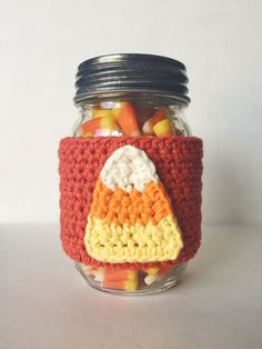 CANDY CORN  Crochet Mason Jar Coffee Cup Cozy by NoellyKnits