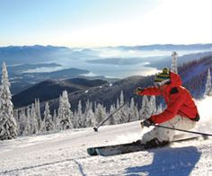 The view from Schweitzer Mountain Resort is quite unique. On a clear day Lake Pend Oreille and Sandpoint (below) are on display.