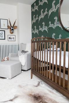"In our Safari-chic nursery, we made the crib the main act. When you open the door, the first impression you get is ""adorable baby room"" and not ""guest room with crib tucked in corner."" Place the crib in direct sight line from the entry door. Modern Nursery Decor, Chic Nursery, Nursery Design, Nursery Room, Modern Nurseries, Nurseries Baby, Boy Room, Kids Bedroom, Zebra Nursery"