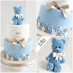 I Love The Detailed Teddy Topper On This Baby Shower Cake. So Sweet!