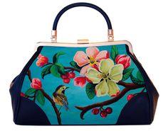 Tasche, Blossom collection, retro, eklektisch, nostalgisch, illustrierte, Blute, Pink, Blau, Valentin