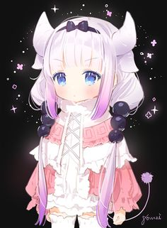 Kobayashi-san Chi No MaiDragon,Kobayashi-san Chi No MaiDragon,Miss Kobayashi's Dragon Maid,Kanna Kamui,Anime Art,Аниме арт, Аниме-арт,Anime,Аниме