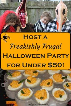 Host a Freakishly Frugal Halloween Party Outdoor Halloween Parties, Childrens Halloween Party, Cheap Halloween, Halloween Kids, Halloween Inspo, Halloween 2020, Haloween Party, Halloween Snacks, Halloween Food For Party