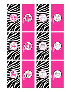 Printable Zebra & Hot Pink Girl Baby Shower Mini Candy Wrappers | aMerAZNStyLe - Digital Art  on ArtFire