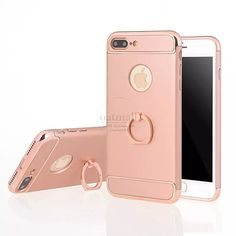 New Fasion Metal Ring buckle Tough Stand Cover For iPhone7 Plus Case Gold plating 3in1 Hybrid Armor i6 7 6S 5 5S SE Fundas