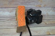 DSLR camera strap photography equipment orange lace by DarbyMack