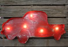 Lighted Rustic Handmade Junk Truck in Red  www.gugonline.com