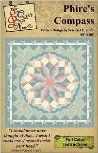 "'Phire's Compass Pattern    ""Mystery Quilts""  ""Quilt Patterns""  ""Downloadable PDF""  ""Color Instructions""  ""Jessica J.E. Smith""  ""The Quilt and Needle"""