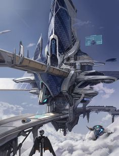 by concept art futuristic city in the sky, sky city environment matte painting, digital art Cyberpunk City, Futuristic City, Futuristic Architecture, Chinese Architecture, Architecture Office, Architecture Portfolio, Fantasy City, Fantasy Places, Fantasy World