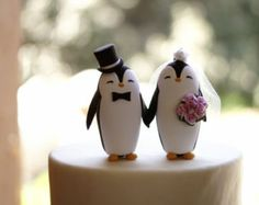 Penguin Wedding Cake Topper Medium by RedLightStudio on Etsy
