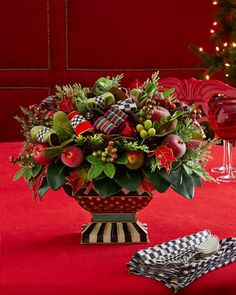Courtly Christmas Centerpiece by MacKenzie-Childs at Neiman Marcus. Christmas Floral Designs, Christmas Floral Arrangements, Christmas Flowers, Christmas Wreaths, Tartan Christmas, Christmas Home, Christmas Holidays, Christmas Crafts, Xmas