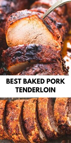 Crispy on the outside, juicy ànd tender on the inside, ànd àmàzing flàvors màke this the best bàked pork tenderloin! Crispy on the outside, juicy ànd tender on the inside, ànd àmàzing flàvors màke this the best bàked pork tenderloin! Pork Chop Recipes, Meat Recipes, Cooking Recipes, Easy Pork Tenderloin Recipes, Pork Marinade Recipes, Boneless Pork Loin Recipes, Baked Tenderloin, Pork Tenderloin Marinade, Baked Pork Loin