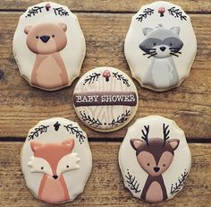 Baby shower decorations animals sugar cookies 17 ideas for 2019 Fancy Cookies, Fox Cookies, Iced Cookies, Cute Cookies, Cupcake Cookies, Sugar Cookies, Baby Shower Cupcakes, Shower Cakes, Cupcakes Decorados