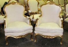 Lg. Pair of Italian Gilded Louis XV Balloon Back Fauteuils Bergere's Chairs