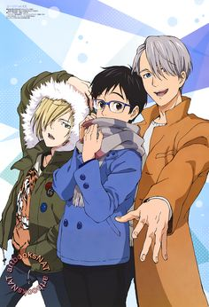 "artbooksnat: "" Yuri!!! on Ice (ユーリ!!! on ICE) Great poster of the main trio, Yuri Plisetsky, Yuri Katsuki, Victor Nikiforov–with Yurio trying to steal the show!  New art work from Otomedia Magazine (Amazon US 