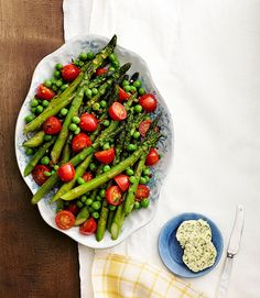 Asparagus, Peas, and Tomatoes with Herb Butter
