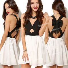 2014 New Summer Party Dress Fashion Women Sexy Vintage Black White Criss Cross Back Hollow Out Bowknot Pleated Chiffon Dress