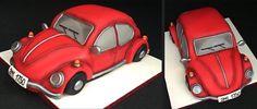 Beetle - Cake by Romana Bajerová Gravity Defying Cake, Torte Cake, Gateaux Cake, Cupcake Cakes, Car Cakes, Just Cakes, Novelty Cakes, 70th Birthday, Creative Cakes