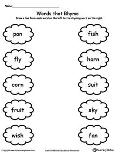 Connect Rhyming Pictures With Words Ending In ET, EN, UB