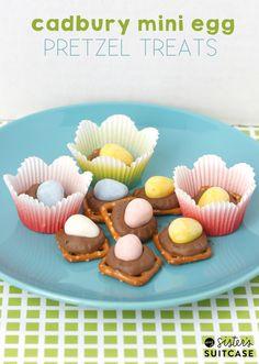 A spin on the easy Pretzel Turtles - using Cadbury Mini Eggs! 5 minute recipe from sisterssuitcaseblog.com #cadbury #treat #dessert