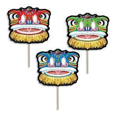 The Chinese Lion Mask Fan with Dowel is sold one per package and made from a card stock material. The mask fan measures 16 inches that is attached to a wooden dowel that measures 8 inches. Grab your lions and dragons for your Asian themed party. Chinese New Year 2014, Chinese New Year Dragon, Chinese New Year Crafts, Chinese Mask, China Crafts, Dragon Mask, Chinese Element, Lion Mask, Lion Dance