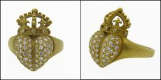 1987 Kieselstein Cord Diamond and 18K Gold Heart Crown Ring.