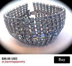Vintage rhinestone wide bracelet