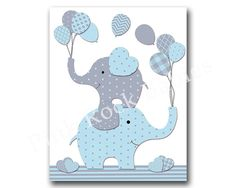Blue elephant nursery wall art baby boy nursery by PinkRockBabies