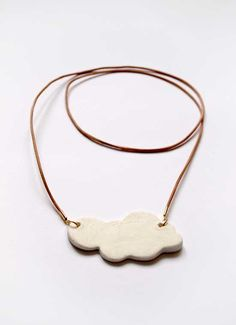 Necklace with ceramic cloud pendant by LelaSchoen on Etsy, €9.00